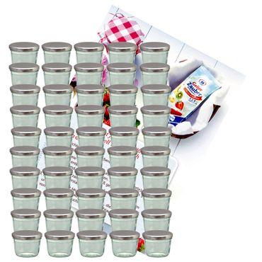 75er Set Sturzglas 230 ml Marmeladenglas Einmachglas Einweckglas To 82 silberner Deckel incl. Diamant-Zucker Gelierzauber Rezeptheft – Bild 1