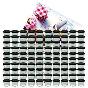 100er Set Sturzglas 230 ml Marmeladenglas Einmachglas Einweckglas To 82 schwarzer Deckel incl. Diamant-Zucker Gelierzauber Rezeptheft