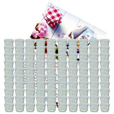 100er Set Sturzglas 230 ml Marmeladenglas Einmachglas Einweckglas To 82 weißer Deckel incl. Diamant-Zucker Gelierzauber Rezeptheft – Bild 1