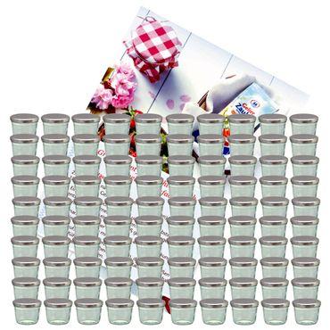 100er Set Sturzglas 230 ml Marmeladenglas Einmachglas Einweckglas To 82 silberner Deckel incl. Diamant-Zucker Gelierzauber Rezeptheft – Bild 1