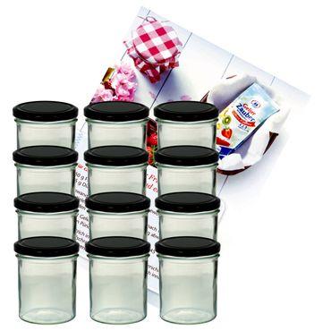 12er Set Sturzglas 350 ml Marmeladenglas Einmachglas Einweckglas To 82 schwarzer Deckel incl. Diamant-Zucker Gelierzauber Rezeptheft