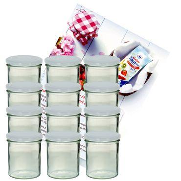 12er Set Sturzglas 350 ml Marmeladenglas Einmachglas Einweckglas To 82 weißer Deckel incl. Diamant-Zucker Gelierzauber Rezeptheft – Bild 1