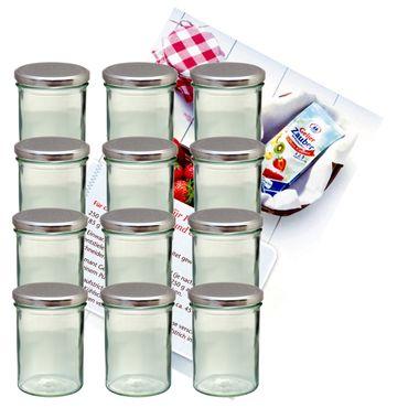 12er Set Sturzglas 435 ml Marmeladenglas Einmachglas Einweckglas To 82 silberner Deckel incl. Diamant-Zucker Gelierzauber Rezeptheft