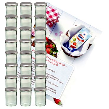 24er Set Sturzglas 435 ml Marmeladenglas Einmachglas Einweckglas To 82 silberner Deckel incl. Diamant-Zucker Gelierzauber Rezeptheft