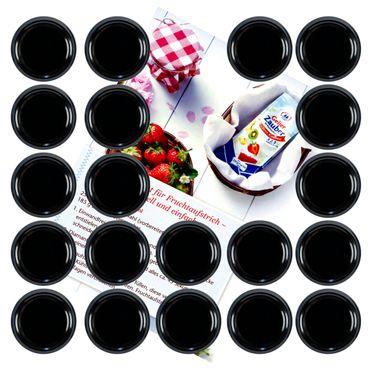 20er Set Deckel To 66 schwarz passend für 125ml Gläser incl. Diamant-Zucker Gelierzauber Rezeptheft – Bild 1