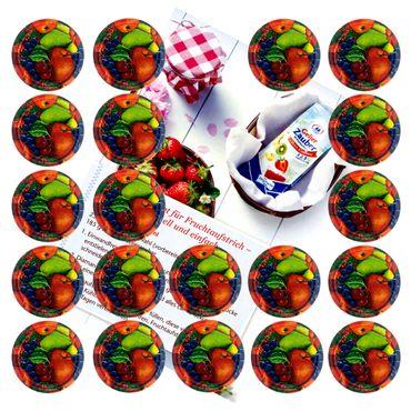 20er Set Deckel To 66 Obst Dekor passend für 125ml Gläser incl. Diamant-Zucker Gelierzauber Rezeptheft – Bild 1