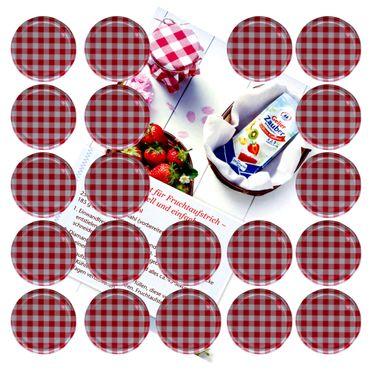 20er Set Deckel To 82 rot kariert passend für 230ml / 350ml / 435ml Gläser incl. Diamant-Zucker Gelierzauber Rezeptheft – Bild 1