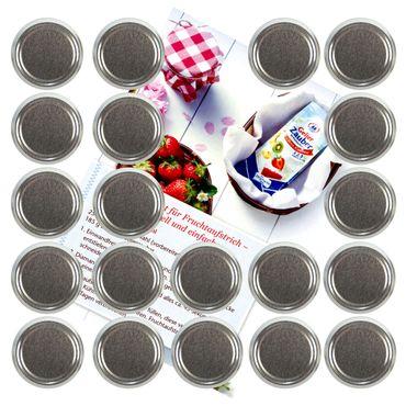 20er Set Deckel To 82 silber passend für 230ml / 350ml / 435ml Gläser incl. Diamant-Zucker Gelierzauber Rezeptheft – Bild 1