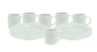 Frühstücksset 12tlg. Arcadia 6 Personen 6 Teller + 6 Becher Porzellan Geschirr – Bild 1