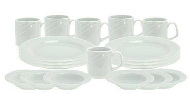 Frühstücksset 18tlg. Arcadia für 6 Personen mit 6 Tellern und 6 Bechern + Müslischalen – Bild 1