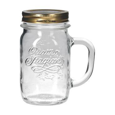 2er Set Trinkglas mit Henkel und Deckel Original Quattro Stagioni Glas 0,415L - inkl. Bormioli Rezeptheft – Bild 2