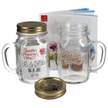 2er Set Trinkglas mit Henkel und Deckel Original Quattro Stagioni Glas 0,415L - inkl. Bormioli Rezeptheft – Bild 1