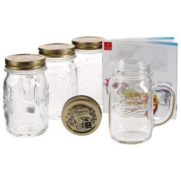 4er Set Trinkglas mit Henkel und Deckel Original Quattro Stagioni Glas 0,415L - inkl. Bormioli Rezeptheft – Bild 1