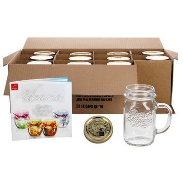 12er Set Trinkglas mit Henkel und Deckel Original Quattro Stagioni Glas 0,415L - inkl. Bormioli Rezeptheft – Bild 1