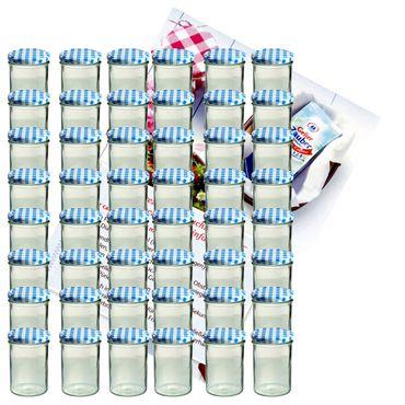 48er Set Sturzglas 435 ml Marmeladenglas Einmachglas Einweckglas To 82 blau karierter Deckel incl. Diamant-Zucker Gelierzauber Rezeptheft – Bild 1