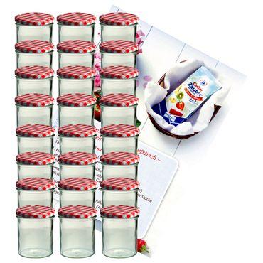 24er Set Sturzglas 350 ml Marmeladenglas Einmachglas Einweckglas To 82 rot karierter Deckel incl. Diamant-Zucker Gelierzauber Rezeptheft