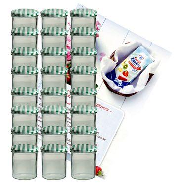 24er Set Sturzglas 350 ml Marmeladenglas Einmachglas Einweckglas To 82 grün karierter Deckel incl. Diamant-Zucker Gelierzauber Rezeptheft – Bild 1