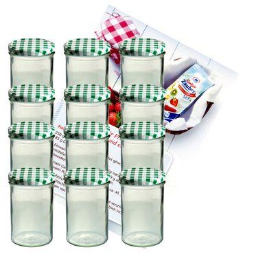 12er Set Sturzglas 435 ml Marmeladenglas Einmachglas Einweckglas To 82 grün karierter Deckel incl. Diamant-Zucker Gelierzauber Rezeptheft – Bild 1