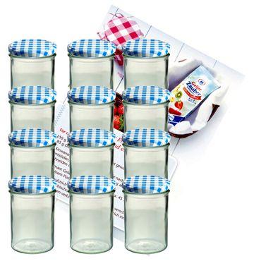 12er Set Sturzglas 435 ml Marmeladenglas Einmachglas Einweckglas To 82 blau karierter Deckel incl. Diamant-Zucker Gelierzauber Rezeptheft
