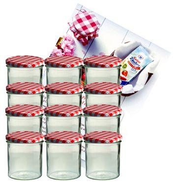 12er Set Sturzglas 350 ml Marmeladenglas Einmachglas Einweckglas To 82 rot karierter Deckel incl. Diamant-Zucker Gelierzauber Rezeptheft