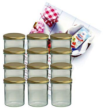 12er Set Sturzglas 350 ml Marmeladenglas Einmachglas Einweckglas To 82 goldener Deckel incl. Diamant-Zucker Gelierzauber Rezeptheft – Bild 1