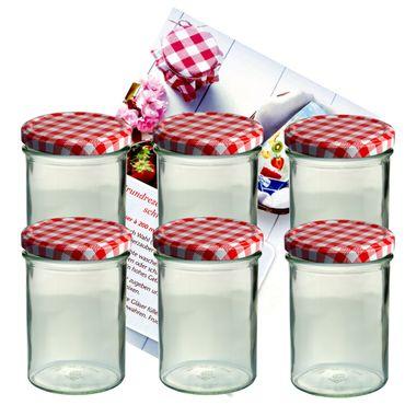 6er Set Sturzglas 435 ml Marmeladenglas Einmachglas Einweckglas To 82 rot karierter Deckel incl. Diamant-Zucker Gelierzauber Rezeptheft