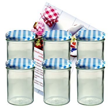 6er Set Sturzglas 435 ml Marmeladenglas Einmachglas Einweckglas To 82 blau karierter Deckel incl. Diamant-Zucker Gelierzauber Rezeptheft – Bild 1
