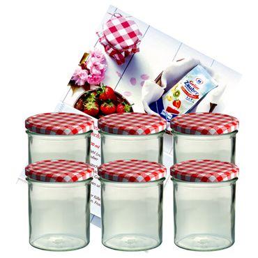 6er Set Sturzglas 350 ml Marmeladenglas Einmachglas Einweckglas To 82 rot karierter Deckel incl. Diamant-Zucker Gelierzauber Rezeptheft