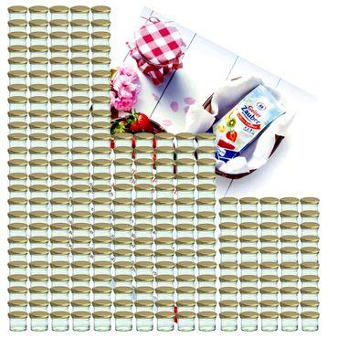 250er Set Sturzglas 125 ml Marmeladenglas Einmachglas Einweckglas To 66 goldener Deckel incl. Diamant-Zucker Gelierzauber Rezeptheft – Bild 1