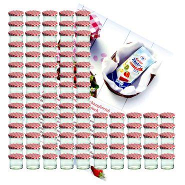 100er Set Sturzglas 125 ml Marmeladenglas Einmachglas Einweckglas To 66 rot karierter Deckel incl. Diamant-Zucker Gelierzauber Rezeptheft