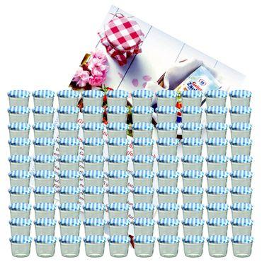 100er Set Sturzglas 230 ml Marmeladenglas Einmachglas Einweckglas To 82 blau karierter Deckel incl. Diamant-Zucker Gelierzauber Rezeptheft