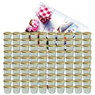 100er Set Sturzglas 230 ml Marmeladenglas Einmachglas Einweckglas To 82 goldener Deckel incl. Diamant-Zucker Gelierzauber Rezeptheft