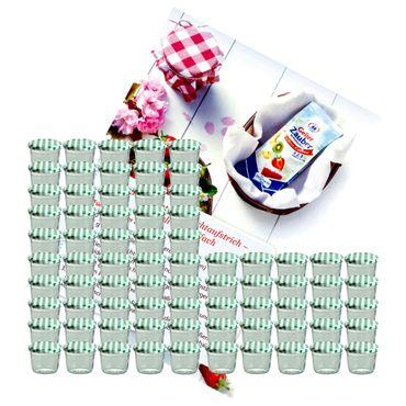 75er Set Sturzglas 230 ml Marmeladenglas Einmachglas Einweckglas To 82 grün karierter Deckel incl. Diamant-Zucker Gelierzauber Rezeptheft – Bild 1