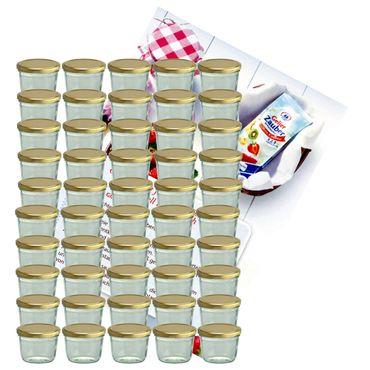 50er Set Sturzglas 230 ml Marmeladenglas Einmachglas Einweckglas To 82 goldener Deckel incl. Diamant-Zucker Gelierzauber Rezeptheft