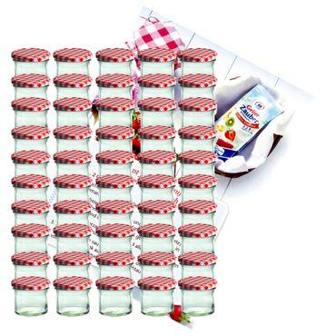 50er Set Sturzglas 125 ml Marmeladenglas Einmachglas Einweckglas To 66 rot karierter Deckel incl. Diamant-Zucker Gelierzauber Rezeptheft