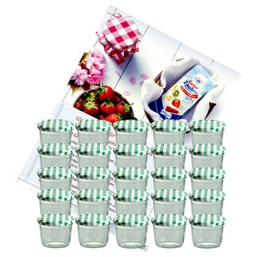 25er Set Sturzglas 230 ml Marmeladenglas Einmachglas Einweckglas To 82 grün karierter Deckel incl. Diamant-Zucker Gelierzauber Rezeptheft – Bild 1