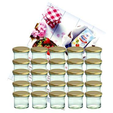 25er Set Sturzglas 125 ml Marmeladenglas Einmachglas Einweckglas To 66 goldener Deckel incl. Diamant-Zucker Gelierzauber Rezeptheft – Bild 1