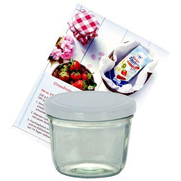 1er Set Sturzglas 230 ml Marmeladenglas Einmachglas Einweckglas To 82 weißer Deckel incl. Diamant-Zucker Gelierzauber Rezeptheft