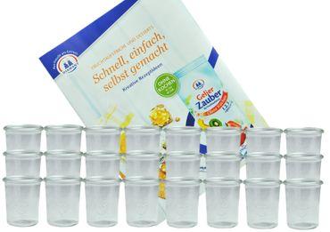 24er Set Weck Gläser 160 ml Sturzgläser incl. Diamant-Zucker Gelierzauber Rezeptheft – Bild 1