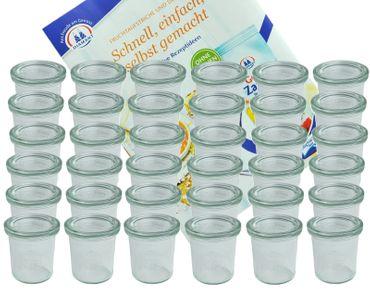 36er Set Weck Gläser 140 ml Sturzgläser mit 36 Glasdeckeln incl. Diamant-Zucker Gelierzauber Rezeptheft – Bild 1