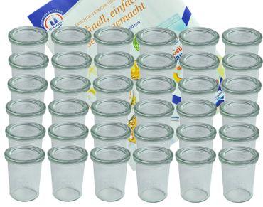 36er Set Weck Gläser 160 ml Sturzgläser mit 36 Glasdeckeln incl. Diamant-Zucker Gelierzauber Rezeptheft – Bild 1