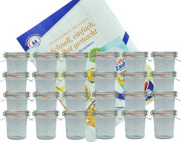 24er Set Weck Gläser 140 ml Sturzgläser mit 24 Glasdeckeln, 24 Einkochringen und 48 Klammern incl. Diamant-Zucker Gelierzauber Rezeptheft – Bild 1