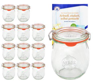 12er Set Weck Gläser 220 ml Tulpengläser mit 12 Glasdeckeln, 12 Einkochringen und 24 Klammern incl. Diamant-Zucker Gelierzauber Rezeptheft – Bild 1