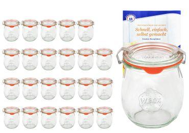 24er Set Weck Gläser 220 ml Tulpengläser mit 24 Glasdeckeln, 24 Einkochringen und 48 Klammern incl. Diamant-Zucker Gelierzauber Rezeptheft – Bild 1