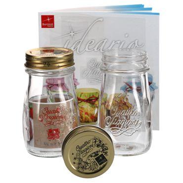2er Set Quattro Stagioni Flasche 0,20l incl. Bormioli Rezeptheft - als Saft Smoothie Getränke Fläschchen, zur Dekoration oder als Einmachglas, Vorratsglas – Bild 1