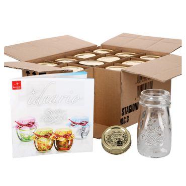 12er Set Quattro Stagioni Flasche 0,20l incl. Bormioli Rezeptheft - als Saft Smoothie Getränke Fläschchen, zur Dekoration oder als Einmachglas, Vorratsglas