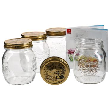 4er Set Quattro Stagioni Glas 0,70l Vorratsglas Einmachglas incl. Bormioli Rezeptheft – Bild 1