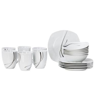 Frühstücksset 18tlg. Silver Night für 6 Personen - 6 Teller, 6 Becher und 6 Müslischalen aus weißem Porzellan mit grauen / schwarzen Linien – Bild 2