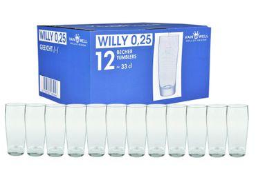12er Set Bierglas Willibecher 0,25l geeicht