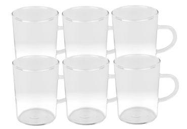 6er Set Teeglas Ceylon 220ml - klassische Teetasse aus hitzebeständigem Glas mit Henkel – Bild 1